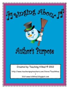 "Help your students understand Author's Purpose with this fun song set to the tune of ""Frosty The Snowman"". ""Who Works Here"" The kids will love it! Visit my . Reading Resources, Reading Strategies, Reading Activities, Reading Skills, Teaching Reading, Reading Art, Guided Reading, Teaching Ideas, Too Cool For School"