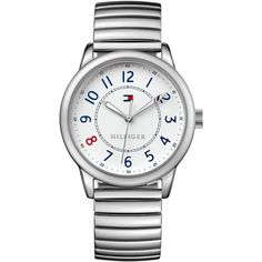 Tommy Hilfiger Women's Stainless Steel Bracelet Watch 36mm 1781683 ($49) ❤ liked on Polyvore featuring jewelry, watches, silver, stainless steel bracelet watch, red watches, red jewelry, stainless steel watches and tommy hilfiger watches