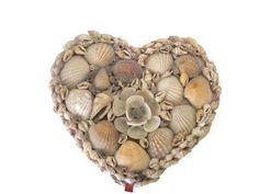 Folk art shell jewelry box heart shaped  circa by SelectiveSalvage