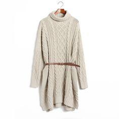 M Apricot Print Pattern Belt Decoration Sweater