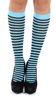 Pamela Mann - Stripe Knee High Socks Black & Turquoise
