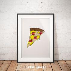 Printable Poster, Printable Wall art, Pizza Illustration, Food Illustration, Kitchen Decoration, Food Poster, Instant Download von printunivers auf Etsy