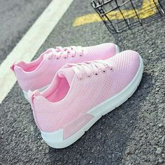 Heel Height: FlatBoot Shaft: Ankle Color: Pink Toe: Round Shoe Vamp: Mesh Closure: Lace-up Air Max Sneakers, Sneakers Nike, Shoe Vamp, Pop Fashion, Womens Fashion, Pink Toes, Flat Boots, Shoe Collection, Girls Shoes