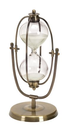 Features:  -Color: Brass brown, clear glass and sand white .  -Textured iron and glass.  Product Type: -Hourglass.  Style: -Contemporary.  Subject: -Home decor and furniture.  Finish: -Brass brown.  P