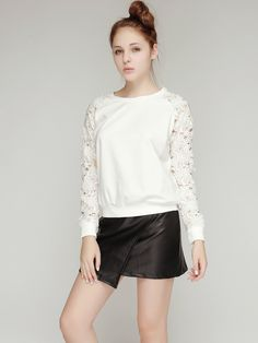 Storets Petal Applique Sleeve Sweat top // Storets.com #Applique #Sweater #Fashion #FW13 #Storets