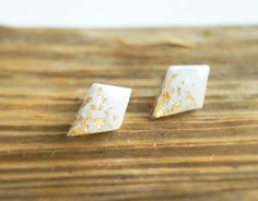White rhombus clay studs earrings with gold by InviolaJewerly