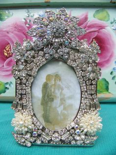 VINTAGE JEWELED PICTURE  FRAME SHABBY RHINESTONES CHIC WEDDING BABY