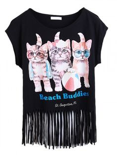 Black Cute Cat Print Letter And Tassel Detail T-shirt
