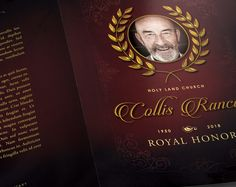 """Royal Funeral Program Template by SeraphimChris on Creative Market A """"Royal Large Funeral Program"""" with an elegant font that boast class and prestige. This funeral program booklet flirts with simplicity with outstanding backgrounds and a 10 page layout for full customization. This program also comes with a full page spread for family photos and space for more traditional information, like songs and poems for example. You can add or subtract pages with the power of customization"""