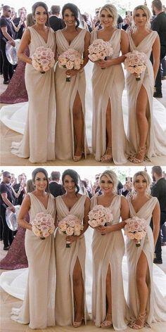 Mermaid V Neck High Split Cheap Bridesmaid Dresses With Pleats, BD0552  #BD0552 #Bridesmaid #Cheap #Dresses #High #Mermaid #Neck #Pleats
