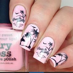 Pastel Pink and Black Beach Inspired Nails With Palm Trees.