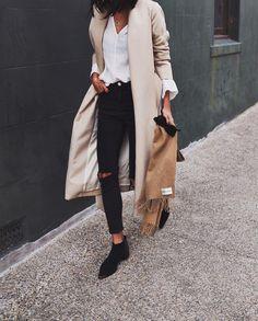 camel coat + black jeans