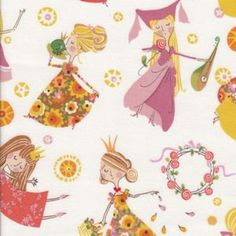 Once Upon a Time Collection - Alexander Henry - Fair Maidens in Natural - Half Yard. $5.00, via Etsy.