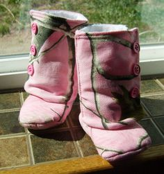 Baby Girl Boots Pink Real Tree Camo by 2Fab on Etsy