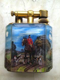 Rare aquarium miniature lighter hunting scenes - anni 50. Disegnato e dipinto a mano da Ben Shillingford.  Non esiste uno uguale all'altro