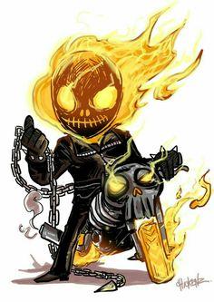 Little : Ghost rider by ChickenzPunk on DeviantArt Chibi Marvel, Marvel Art, Marvel Dc Comics, Marvel Heroes, Heros Comics, Bd Comics, Chibi Characters, Marvel Characters, Character Drawing