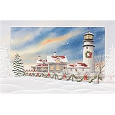 highland house light lighthouse embossed 16 boxed holiday cards and envelopes - Beach Themed Christmas Cards