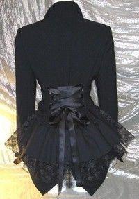 Black Victorian Bustle Jacket Coat Goth Lolita Vampire Steampunk Cosplay DIY 14/16 Bnwt