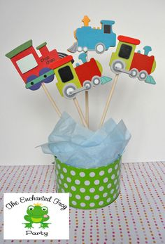 4 Piece Train Party Centerpiece Embellishment Train Baby Shower Train Birthday Party. $9.00, via Etsy.