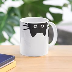 ceramic mug featuring wraparound print. Available in two shapes. Upside Down Cat. Fun vinyl stickers, coffee mugs and gifts for black cat lovers. Coffee Mug Quotes, Cat Coffee Mug, Glass Coffee Mugs, Cat Mug, Funny Coffee Mugs, Diy Mugs, Diy Sharpie Mug, Diy Mug Designs, Mugs For Men