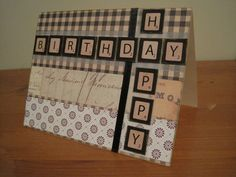 Birthday card made for (scrabble-loving) father, using ribbon, stickers, and assorted printed cardstock. It's harder to make cards for guys, but this was a big hit! Masculine Birthday Cards, Birthday Cards For Men, Handmade Birthday Cards, Masculine Cards, Greeting Cards Handmade, Birthday Gifts, Birthday Ideas, Love Cards, Diy Cards
