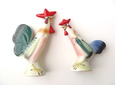 1950s Rooster Salt and Pepper Shakers Vintage by AstrasShadow