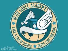Blue Shell Academy T-Shirt - http://teecraze.com/blue-shell-academy-t-shirt/ - Designed by fishbiscuit #tshirt #art #fashion #TCRZ #mariobros