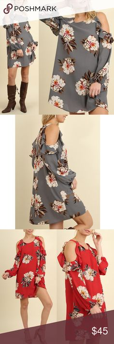 AMANDA Open Shoulder Floral Dress - GREY Available in grey & red.  NO TRADE   PRICE FIRM Bellanblue Dresses