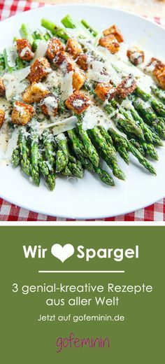 You have never eaten asparagus like this!-So habt ihr Spargel noch nie gegessen! 3 kreative Rezepte aus aller Welt Do you love asparagus as much as we do? Then you have to try these recipes! Vegetarian Grilling, Vegetarian Recipes, Cooking Recipes, Healthy Recipes, Simple Recipes, Healthy Meals, Crockpot Recipes, Healthy Eating, Side Dish Recipes