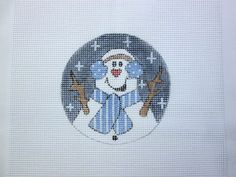 $9.95       Silly Snowman Christmas Ornament Handpainted Needlepoint Round Canvas