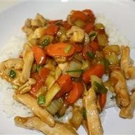 Craving Chinese food? Make your own! Try this Chicken Honey Nut Stir Fry that will both satisfy and keep you on track. Only 7.9 g's of fat and 235 calories or 6 Weight Watchers points plus