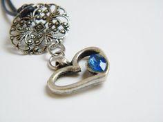 Sapphire Blue Heart Necklace Swarovski Crystal by LadyRebelDesigns, $27.00