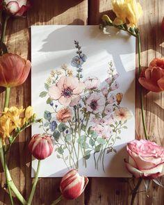 """1,068 curtidas, 51 comentários - Katarzyna Stróżyńska Goraj (@kasiags) no Instagram: """"Spring is here #art#drawing#painting#watercolor#wildflowers#akwarele#kwiaty#wiosna"""""""