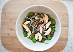 """Spinach Salad with Curried Pecans, Blue Cheese and Apples - This recipe should really be titled, """"My Favorite Salad Ever!"""""""