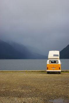 VW Camper van T2 roof up. Lost in America
