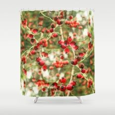 Berrylicious Shower Curtain 'End of Summer' by Anipani  10% off Decor and Free Shipping on everything today  #society6 #Autumn  #decor #wallart  #green #nature