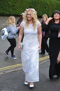 Pretty as a flower: Kirsty-Leigh Porter wore a garland and an embroidered white dress Kieron Richardson, Gemma Merna, Hollyoaks, Tie The Knots, Devon, Soaps, All Things, Garland, Lace Skirt