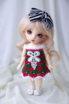 Christmas crocheted dress for PukiFee Lati Yellow by frezje