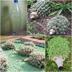 Hedgehog Planters - So Cute!  Vadora  http://goodshomedesign.com/funny-hedgehogs-garden/ With a little imagination you can make a few hedgehogs to decorate your garden. You need a plastic bottle (cut like the picture),Cover the plastic bottle with grey tights or jute, paint the cap black, use tacks for eyes, then put some plants (grass, chicks n hens) or cacti inside.