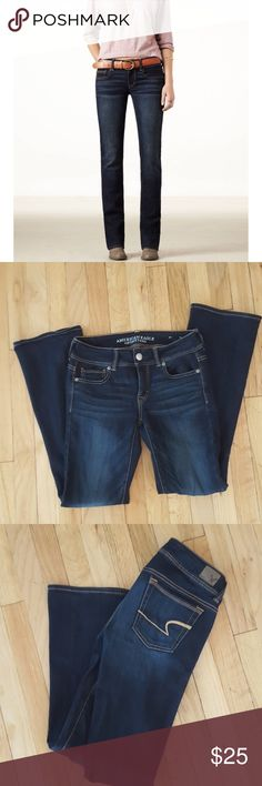 NEW American Eagle kick boot jeans. Size 2. NEW American Eagle kick boot jeans. Medium dark wash. Light flare. Size 2 short. Super soft and comfortable!  Bundles welcomed! Make me an offer!  Happy poshing! XO American Eagle Outfitters Jeans