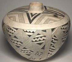 Ancestral Pueblo (Anasazi), Socorro Black-on-white  West-central New Mexico, United States    Jar with a Shoulder Chevrons and a Body Pattern of Squared Spirals and Zigzag Squares,