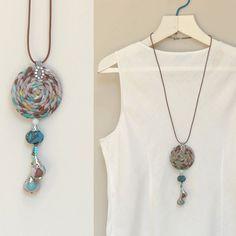 Ecofriendly boho pendant  Long pendant necklace by ATLIART on Etsy