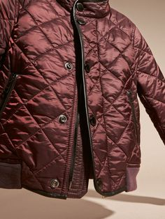 A Burberry quilted bomber jacket, effortless and light in water-resistant nylon with warm knitted cuffs. Durable leather trims elevate the casual, all-season style.