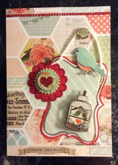 """Valentine made for simonsaysstampblog.com Wed. Challenge.  Another """"stash & scraps"""" card using papers, dimensional stickers, yarn, punches tags etc."""