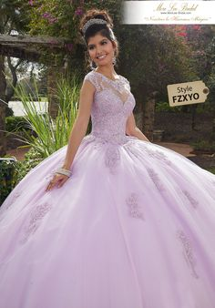 Lavender quinceanera dresses - Vizcaya by Mori Lee 60092 Beaded Lace Illusion Neckline Tulle Gown – Lavender quinceanera dresses Sweet 15 Dresses, Pretty Dresses, Beautiful Dresses, Sparkly Dresses, Light Purple Dresses, White Quince Dresses, Pink Light, Xv Dresses, Ball Gown Dresses