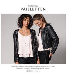 Kleidung & Accessoires für Damen, Herren u. Kinder Glamour, Neue Trends, Jeans, Bomber Jacket, Leather Jacket, Fashion, Clothing Accessories, Jackets, Sequins