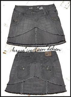 Tutorial ✄ Jeans zum Rock  sew nähen upcycling kreat*ive Haen*dchen