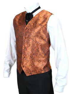 Mens Orange Paisley No Collar Dress Vest | Gothic | Pirate | Retro || Showman Vest - Orange