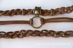 Adventures of a DIY Mom - How to Make Braided Leather Stacked Bracelets