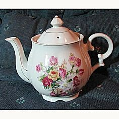Vintage Floral Teapot with Roses. Click on the image for more information.